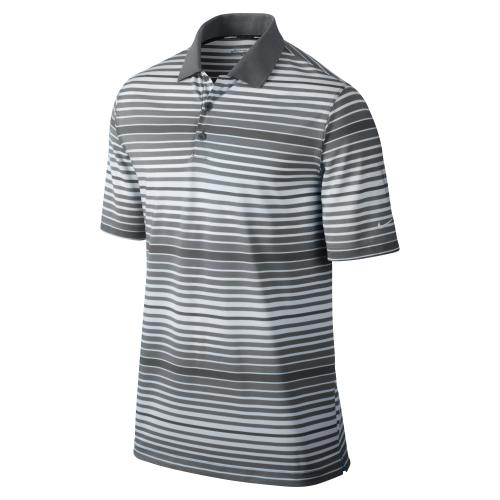 Nike Key Bold Heather Stripe Men's Golf Polo Shirt - Grey/Silver