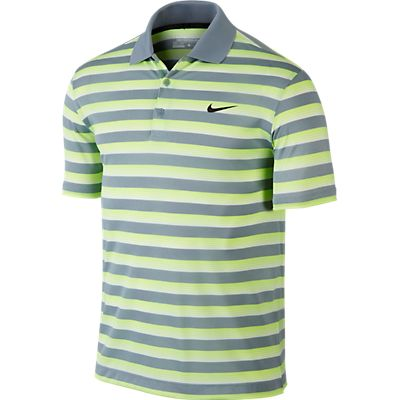 Nike Tech Vent Stripe Golf Polo - Dove Grey/Volt/Anthracite