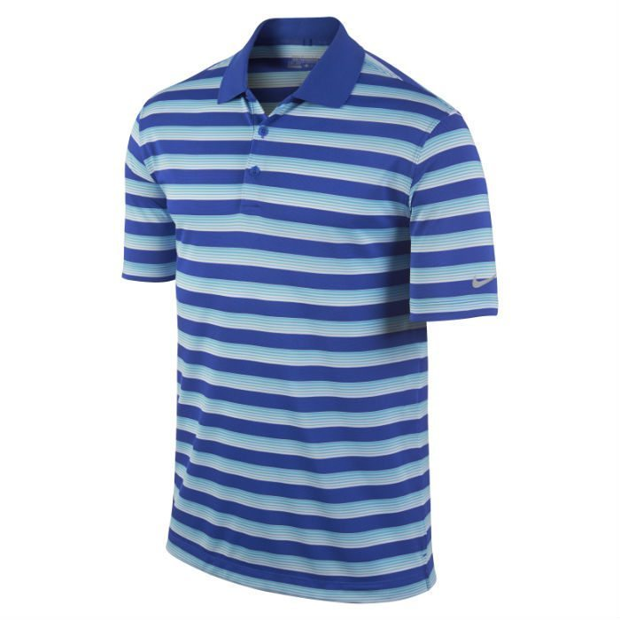 Nike Tech Vent Stripe Golf Polo - Lyon Blue/Clearwater/Wolf Grey