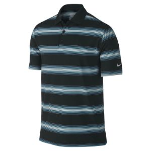 Nike Golf Tech Ultra Stripe Polo - Black/Light Blue Lacquer/Black/Wolf Grey