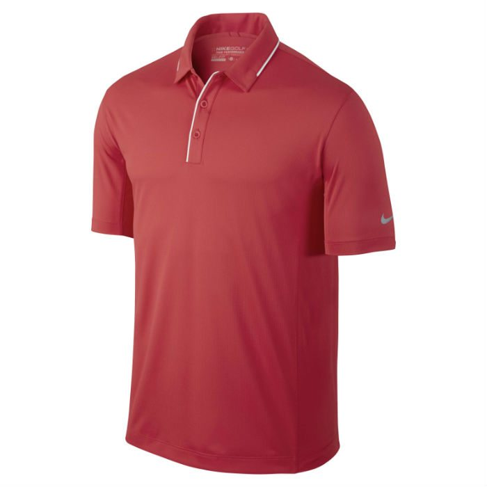Nike Golf Tech Tipped Polo – Daring Red/White/Wolf Grey