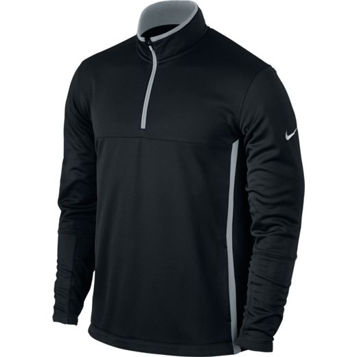 Nike Mens Half Zip Therma-Fit Cover Up - Black/Wolf Grey