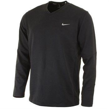 Nike Golf Mens Dri-Fit Tech LC Sweater – Black/Metallic Silver
