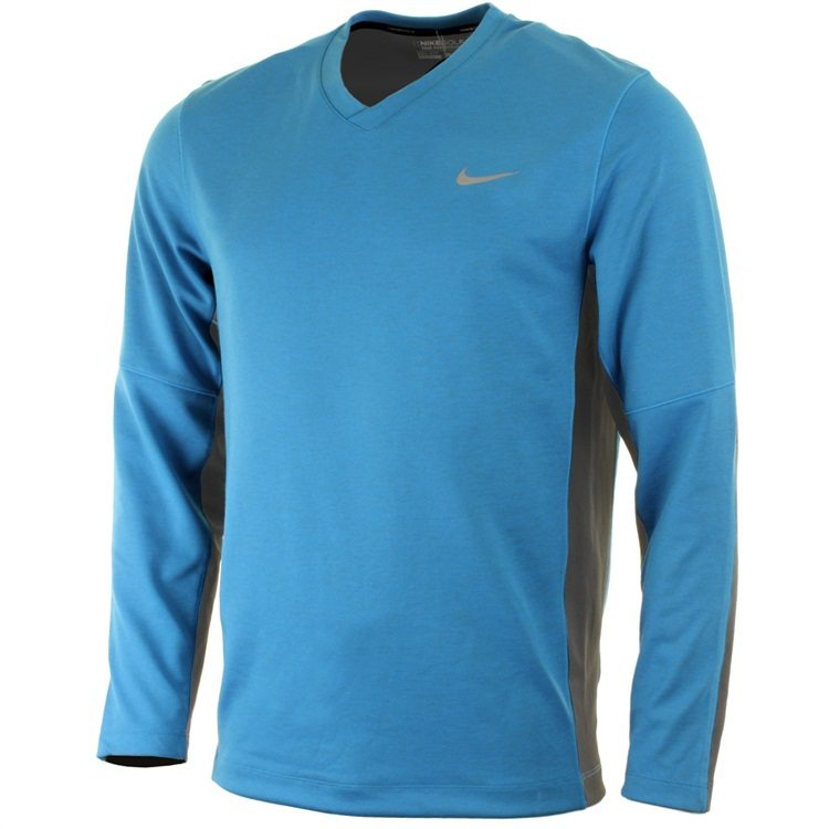 Nike Golf Mens Dri-Fit Tech LC Sweater – Light Blue Lacquer/Metallic Silver