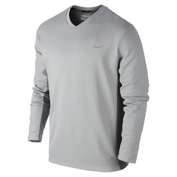 Nike Golf Mens Dri-Fit Tech LC Sweater – Magnet Grey/Cool Grey/Metallic Silver
