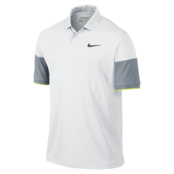 Nike Modern Major Moment Commander Men's Golf Polo Shirt - White/Dove Grey/Volt/Anthracite