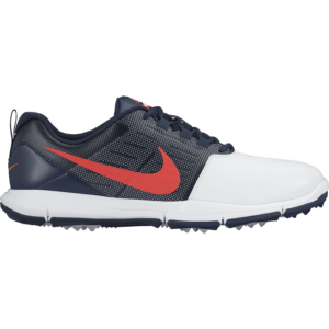 Nike Explorer Lea Golf Shoes - White/Bright Crimson/Obsidian