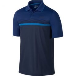 Nike Modern Fit Momentum Stripe Golf Polo - Midnight Navy/Reflect Black