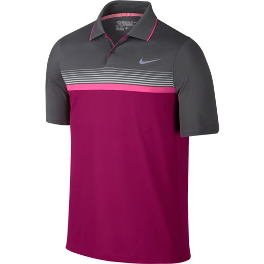 Nike Modern Fit Momentum Stripe Golf Polo - Sport Fuchsia/Dark Grey/Reflect Black