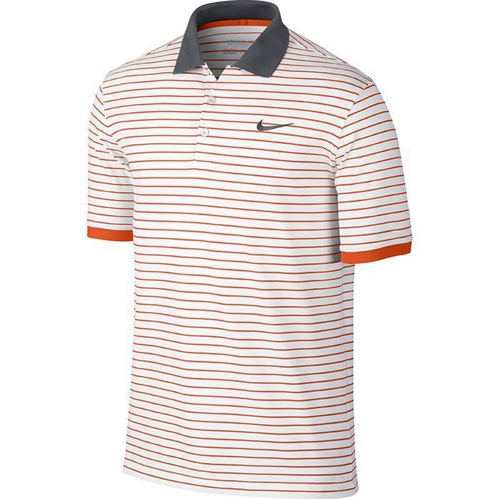 Nike Golf Modern Fit Transition UV Stripe Polo - White/Electro Orange/Anthracite