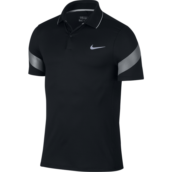 Nike MM Fly Framing Commander Golf Polo Shirt - Black/Wolf Grey/Reflective Silver