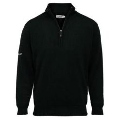 Proquip Lined Merino Zip Neck Golf Sweater - Black