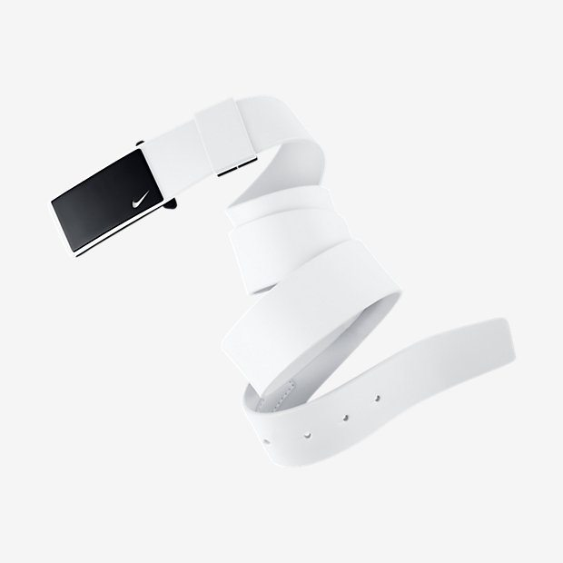 Nike Sleek Plaque Golf Belt - White