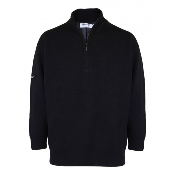 Proquip Lined Lambswool Zip Neck Sweater - Black