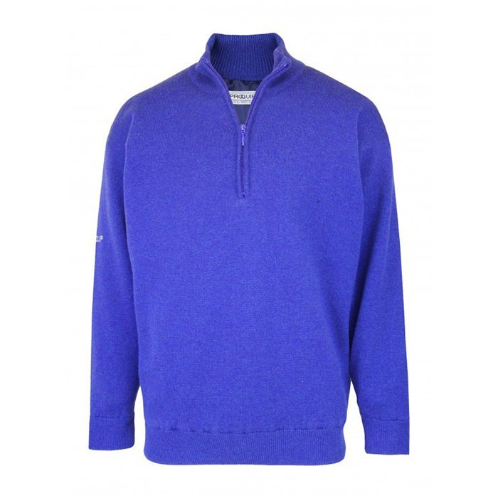 Proquip Lined Lambswool Zip Neck Sweater - Blue