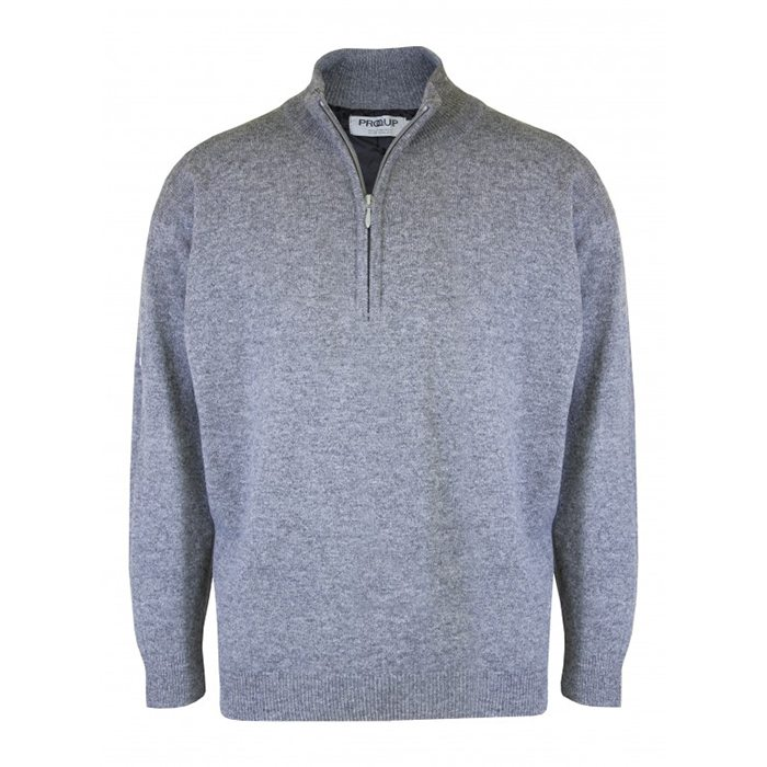Proquip Lined Lambswool Zip Neck Sweater - Grey