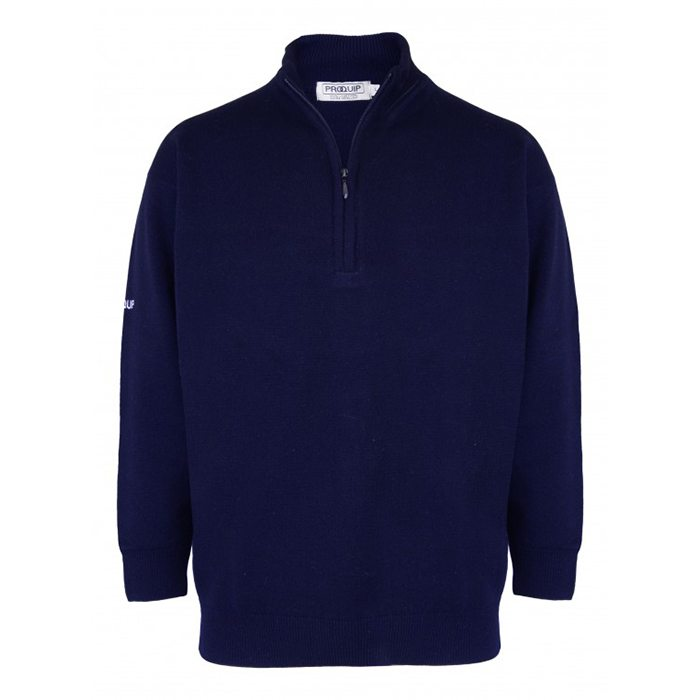 Proquip Lined Lambswool Zip Neck Sweater - Navy