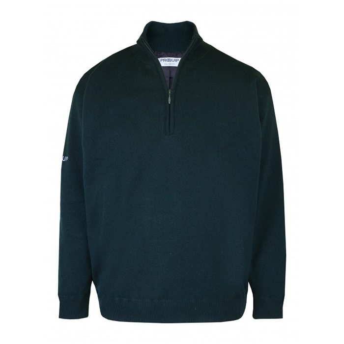 Proquip Lined Lambswool Zip Neck Sweater - Tartan Green