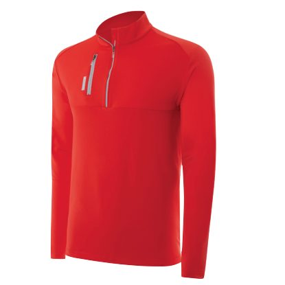 adidas ClimaLite Mixed Media 1/4 Zip Layering Top - Red