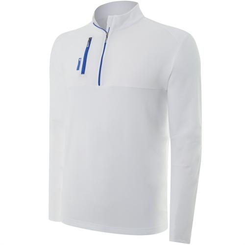 adidas ClimaLite Mixed Media 1/4 Zip Layering Top - White